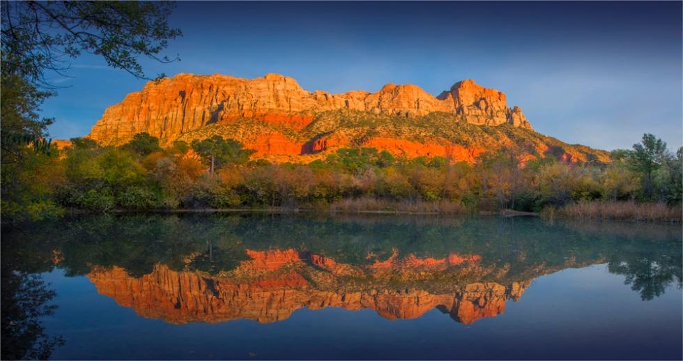 Beaver-Pond-Reflections-Springdale-U7701-18x34